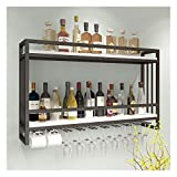 Flaschenregal - GMING Weinhalter Retro Holz Wandregal Metall Eisen Halterung Lagerung Weinregale Hängen Weinflasche Wein Vitrine (Size : 100 * 20 * 55cm)