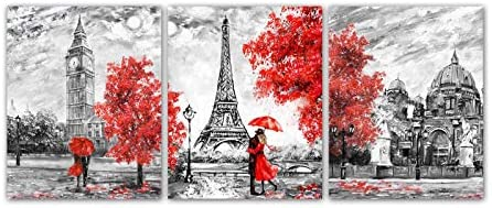 White Black Red Paris Theme London Big Ben Tower Eiffel Tower Wall Art Painting Set of 3 8 x10 product image