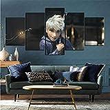 Lienzo 5 Piezas Set Movie Guardian Rises Wall Art Flower decoración del hogar decoración 80x150cm (Marco)
