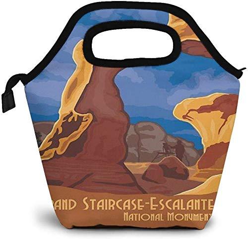 Grand Staircase Escalantes National Monument Utah Bolsa de almuerzo con aislamiento Caja Bento personalizada Enfriador de picnic Bolso portátil Bolsa de almuerzo para mujeres Chica Hombres Niño