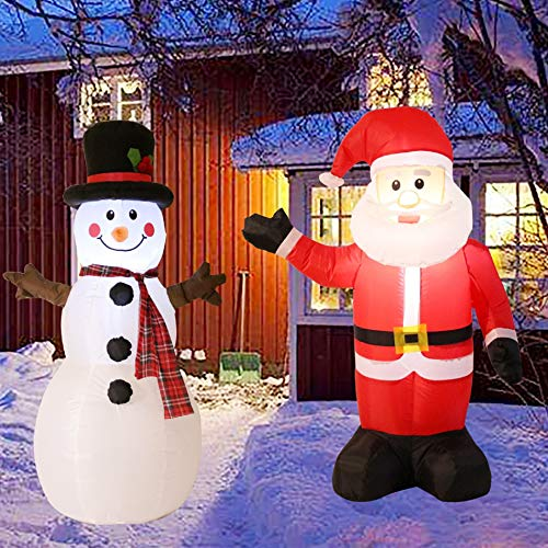 Kurala 4 FT Lighted Christmas Inflatable Santa Claus and Snowman Party Yard Indoor Outdoor Decoration