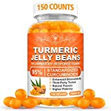 Turmeric Jelly Beans with Piperine for Joint Support, Pain Relief - Inflammatory Response Gummies, Turmeric Curcumin Supplement for Adult&Kids, Organic Anti-inflammatory Supplement -150 Counts