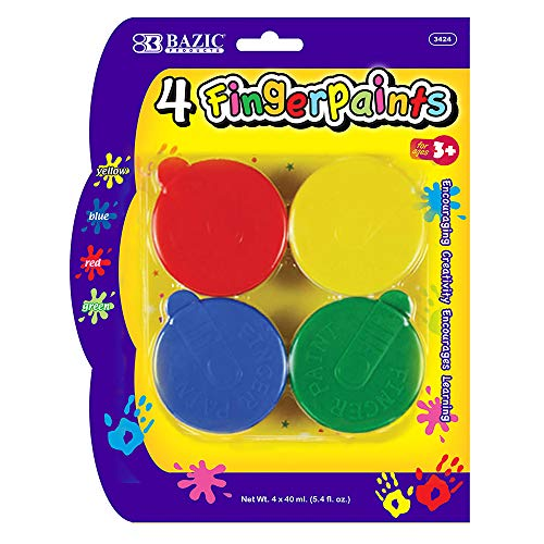 BAZIC Assorted Color 40ml Finger Paint Set, Art Supplies Fun Creative Painting for Kids Activity Class Home DIY Age 3+ (4/Pack), 1-Pack