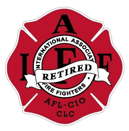 Sticker IAFF Retired Red with Black Decal Firefighter for Car Window Truck Laptop Bumper Vinyl Cross 4 in. (Retired Red with Black)