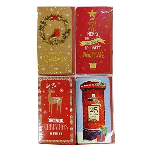 Portefeuilles d'argent de Noël, Bon Portefeuille avec des Enveloppes, Paquet de 4, Design Traditionnel