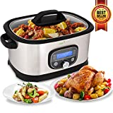NutriChef Sous Vide Slow Cooker - 11 in 1 Steamer Stainless Steel High-Pressure Multi Cooker Crock Pot w/ Digital LCD Display, 11 Preset Cooking Modes, Sous Vide Cooking Mode, 6.5 Quart - PKPC35