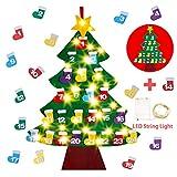 Fieltro árbol de Navidad,Goseare DIY 24 Días de Fieltro Calendario de Adviento Árbol de Navidad Adorno Colgante con Luz de Cuerda para Niños Decoraciones de pared de Navidad