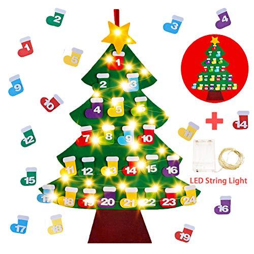 Feltro Albero Natale,Gosear Fai da te 24 Giorni di Calendario Dell'avvento in Feltro Albero di Natale Conto Alla Rovescia Ornamento appeso con Luce a Corde per Bambini Decorazioni Murali di Natale