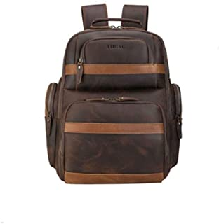 Mens Leather Bag Leather Travel Backpack Bag Can Be Connected to USB Large Capacity Package Casual Portable Large Capacity Bag (Color : Brown, Size : 15.6 inches)