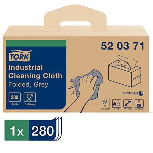 Tork 520371 Paños de limpieza industrial Premium/Fieltros de limpieza industrial con el sistema W7 - Handy Box / 1 caja x 280 paños / 1 capa/Gris