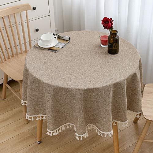 U-KIME Runde Tischdecke Solide Farbe Baumwolle Leinen Textur Nähen Quaste Spitze Tischdecke, Maschine Waschbar, Durchmesser 150cm, Braun