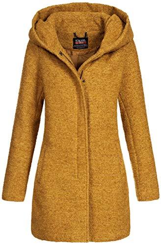 Sublevel Damen Woll-Mantel Jacke LSL-298/352 Kapuze meliert Ochre Yellow (003) L