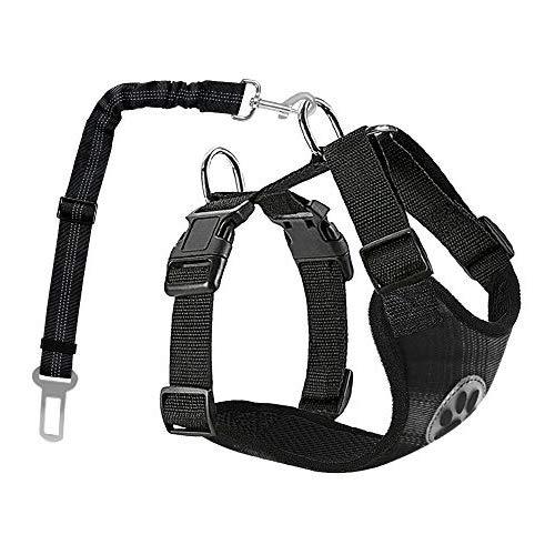 Lukovee Double Hundegeschirr mit Sicherheitsgurtfür alle alltäglichen und sportlichen Aktivitäten dem Vierbeiner luftdurchlässiges Reguläre Reisenweste Autosicherheitsgurt