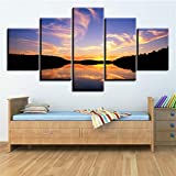 yuandp 5 Unidades/Set WS-Dark Forest-Lake-Red-Sunset Frame Pintura al óleo Lienzo Impreso Mural para la decoración de la Sala de Estar sin Marco