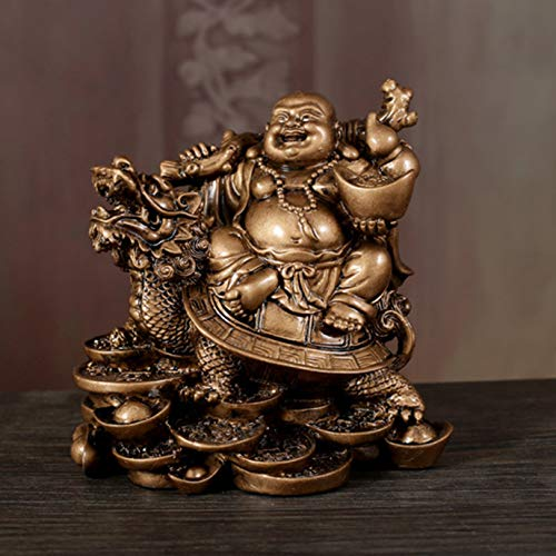 KKONION Resin Laughing Buddha Statue with Money Turtle Happy Maitreya Buddha Figurines for Good Luck Feng Shui Decor