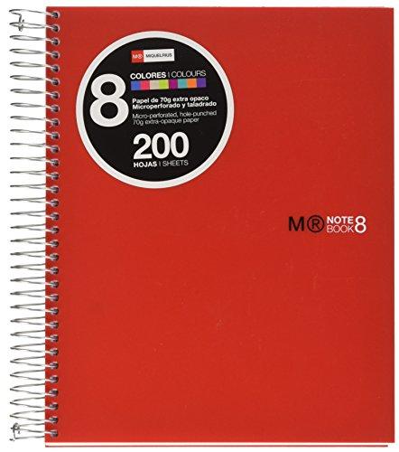 Basicos MR 43003 - Quaderno A5, 200 fogli di 8 colori, orizzontale, in polipropilene, rosso