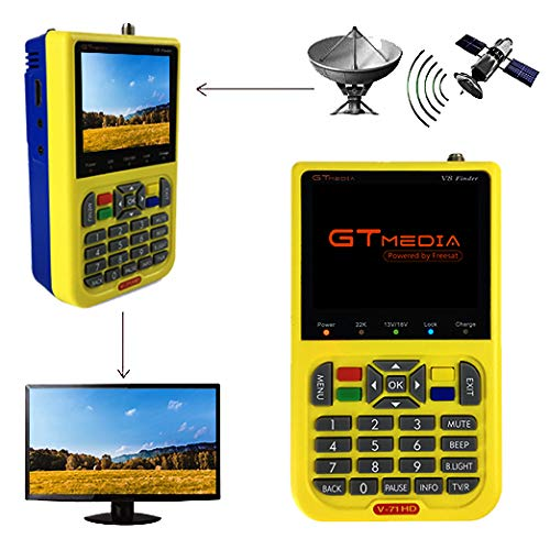 """Freesat V8 Finder DVB S2 Sat Localizador satelite Buscador de Satélite Medidor de Campo FTA Receptor de Señal de Satélite de TV Digital HD, 3.5"""" LCD Batería 3000mAh Incorporad"""