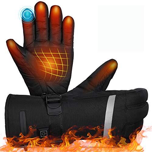 Beheizbare Handschuhe,MOVTOTOP Akku beheizbare handschuhe Damen Herren Wiederaufladbare wasserdichte 2020 neueste 3 Heiztemperatur einstellbare Touchscreen Beheizte Handschuhe für Outdoor-Aktivitäten
