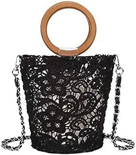 TOOGOO Lace Transparent Wood Portable Wild Bucket Bag Shoulder Sling Handbag Beach Bag Female White