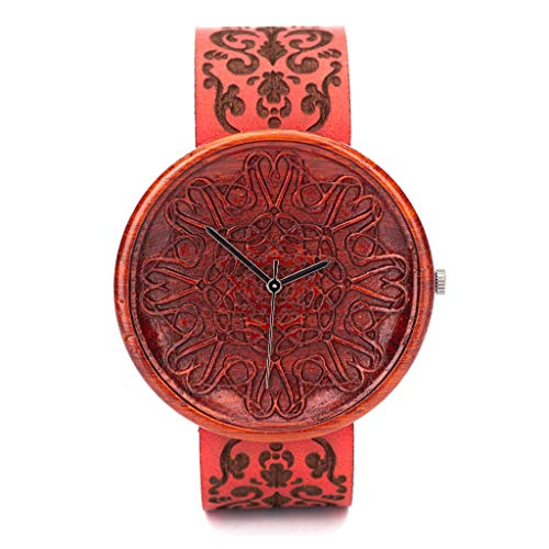 Rot Holzuhr Amare Mit Gravur - Analog Damen Uhren, Uhr aus nachhaltigem Holz, Rot echtes Lederarmband, Durchmesser 42mm
