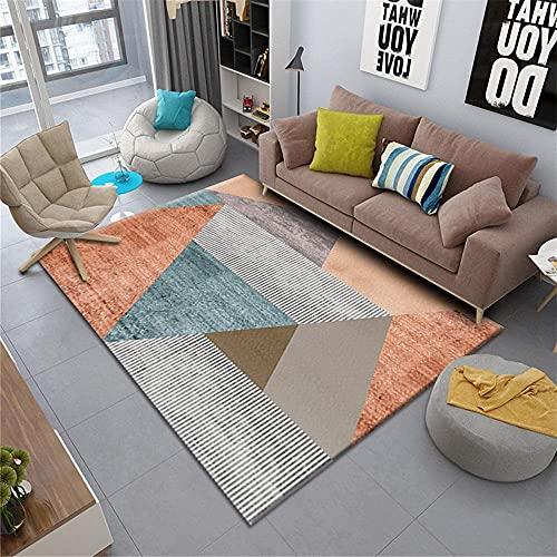 Kunsen Salon alfombras Antideslizantes Alfombra de Sala de Estar Gris Naranja Azul Moderno Rectangular Mano sentirse cómodo alfombras para Salon 80X160CM 2ft 7.5' X5ft 3'