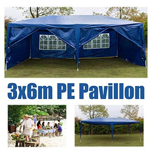 Huini 3x6m Gartenpavillon Festzelt mit Seitenwänden Völlig wasserdicht für Hochzeit im Freien Event Camping BBQ Mehrzweck-Pavillon Markise Einfache Installation 6 Seiten Wand Blau