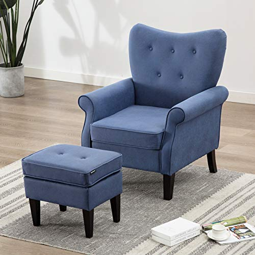 Artechworks Tufted Accent Chair with Ottoman Tech Cloth(Leathaire), Single Sofa Club Chair for Living Room, Bedroom, Office, Hosting Room, Blue
