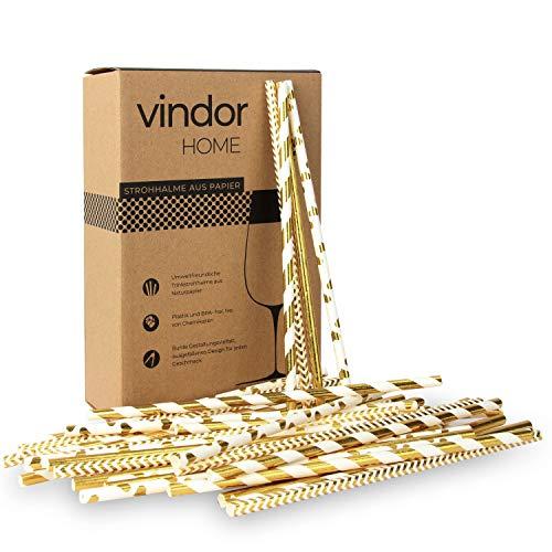 Vindor Papier Strohhalme - 200 Stück - Papierstohhalm Papier Trinkhalme umweltfreundlich, plastikfrei – Gold