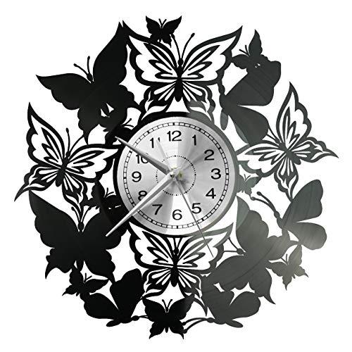 WoD Schmetterlinge Wanduhr Vinyl Schallplatte Retro-Uhr groß Uhren Style Raum Home Dekorationen Tolles Geschenk Uhr
