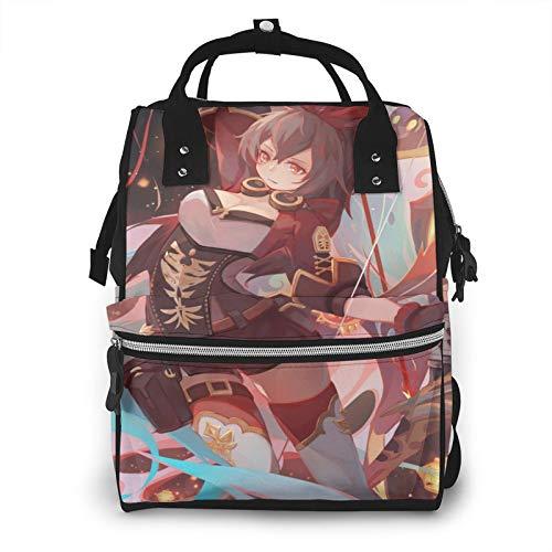 Gen-shin Im-pact, mochila de pañales de gran capacidad, bolsas de bebé, multifuncionales, con cremallera, mochila de viaje casual para mamá y papá, unisex