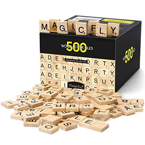 Magicfly Lettre Tuiles en Bois, Puzzle Alphabets A à Z pour Jouer et Décoration Enfant Cadeau en Bois, Jeu de Mots Prénom Croisés DIY (1 boîte, 500pcs)