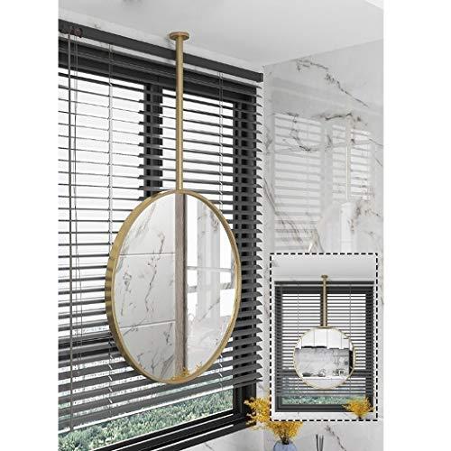 HLYT-0909 Espejo Redondo con Metal Boom Colgantes de Techo, Espejos de baño Decorativo Moderno de Alta definición for tocador de Maquillaje Espejos - Hotel Store o Home Sala entradas Decoración - Oro