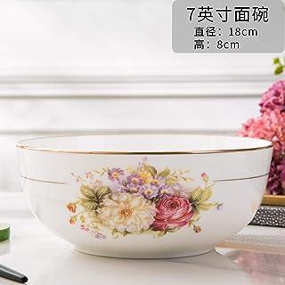 Spohife TazóN De Ramen JaponéS TazóN De Fideos con Carne TazóN Grande De 7 Pulgadas-Rastreo de Flores románticas de Oro
