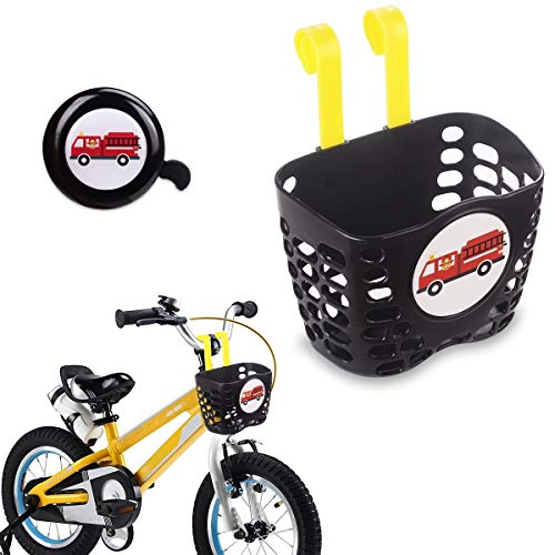 MINI-FACTORY Kid's Bike Basket and Bell 2pcs Play Set for Boys, Cute Cartoon Fire Truck Pattern Bicycle Handlebar Basket Plus Safe Cycling Ring Horn (Fire Truck Basket + Bell)
