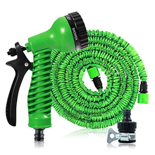 HUADA Tuinslang, Expanding Garden Water Hose Pipe Met 7 Function Spray Gun, 3 Times uitbreidbaar Watering Hose, Flexible Magic Hose Anti (Color : Green, Size : 15M)