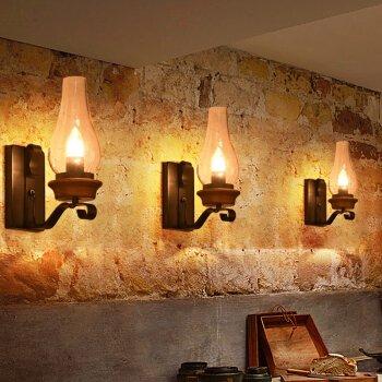 Modern minimalistisk rustik vägglampa lämplig för sovrum, vardagsrum, hall, innergård, hotell, sängloft industriell vind nordisk restaurang amerikansk smidesjärn gång bar lykta vägglampa B7271