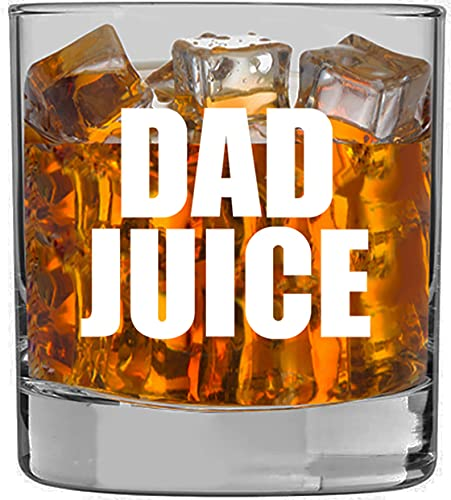 """Dad Gifts Funny -""""Dad Juice"""" Whiskey Glass 11oz - Fathers Day Gift Idea from Daughter, Son, Wife, Bourbon, Rocks, Who Has Everything, Cool, Expecting, Bonus, Stepfather Birthday, For Men,Best Dad"""