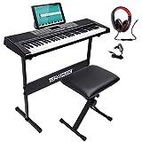 Bakaji - Teclado musical plano electrónico, 61 teclas, piano multifunción con soporte para taburete y auriculares, 255 ritmos, entrada USB AUX y atril