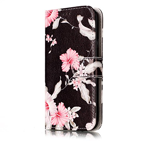 Homikon PU Leder Hülle Retro Schön Schutzhülle Brieftasche Ledertasche Bookstyle Lanyard Weiche Handyhülle Kunstleder Lederhülle Silikon Kompatibel mit Samsung Galaxy S5/S5 Neo - Blume