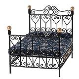 Summerwindy 1: 12 Dormitorio en Miniatura de Casa de Muneca Cama de Metal de Muebles con colchon Juguete de Accesorio Negro
