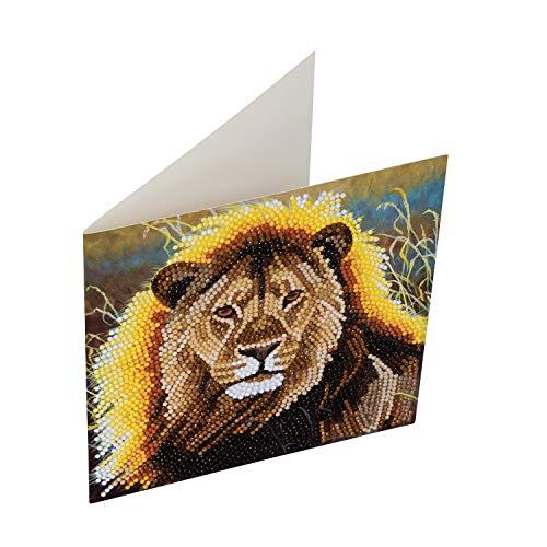 CRYSTAL ART CCK-A13 Ruhender Löwe, Kristallkunstkarte Crystal Card Kits 18x18cm, Mulitcolor, 18x18