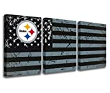 Football Wall Pictures for Living Room Pittsburgh Steelers Logo Paintings American Flag Canvas Wall Art HD Prints Patriotic Artwork Modern House Decor Wooden Framed Giclee Ready to Hang(42''Wx20'H)