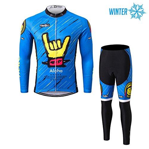 Thriller Rider Sports® Herren Aloha Blue Sport & Freizeit MTB Fahrradbekleidung Radtrikot Langarm Winter Thermisch Warm Jacke und Radhose Lang Anzug X-Large