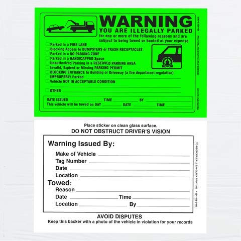 (50) Parking Violation Sticker - Vehicle Illegally Parked Tow Notice - Parking Violation Notice - No Parking Warning Stickers - Scrap to Remove Stickers Neon Green 5.5 x 7.5 - Made in The U.S.A. Photo #4