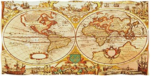 Toallas de Mano Grandes Mapa Antiguo del Mundo Toalla de baño de Barco náutico Ultra Suave 27.5'x15.7' Toalla de Cara Suave y Absorbente Toalla de baño de Cocina para el hogar Toalla para Invitados