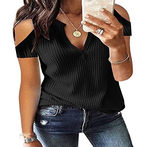 Camiseta sin Tirantes de Manga Corta de Color sólido de Verano para Mujer con Cuello en V y Costuras Sueltas Liso sin Tirantes Camisa Pullover Superior Regular Holgado Corte Entallado Blusa Superior