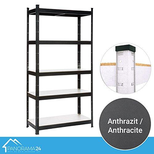 Panorama24 Lagerregal Anthrazit belastbar bis 875kg - Maße: 180 x 90 x 40 cm, Regal Kellerregal Steckregal Werkstattregal Schwerlastregal