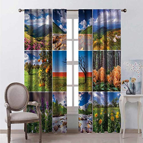 99% blackout curtains Springtime Countryside For bedroom kindergarten living room W96 x L96 Inch