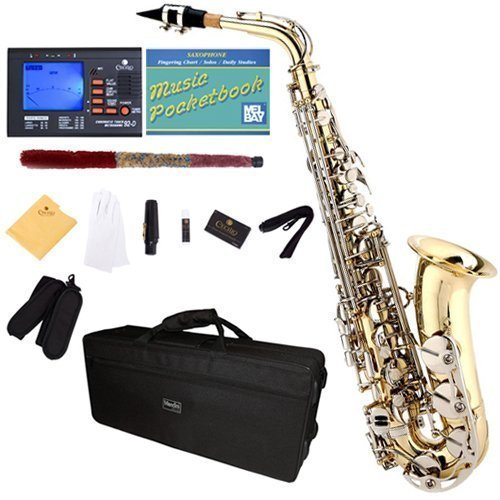 Mendini by Cecilio Eb Alto Sax w/Tuner, Case, Mouthpiece, 10 Reeds, Pocketbook and 1 Year Warranty (Gold Lacquer + Nickel Keys)