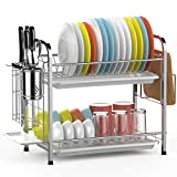 Dish Drying Rack, GSlife 2 Tier 304 Stainless Steel Dish Rack with Utensil Holder, Cutting...